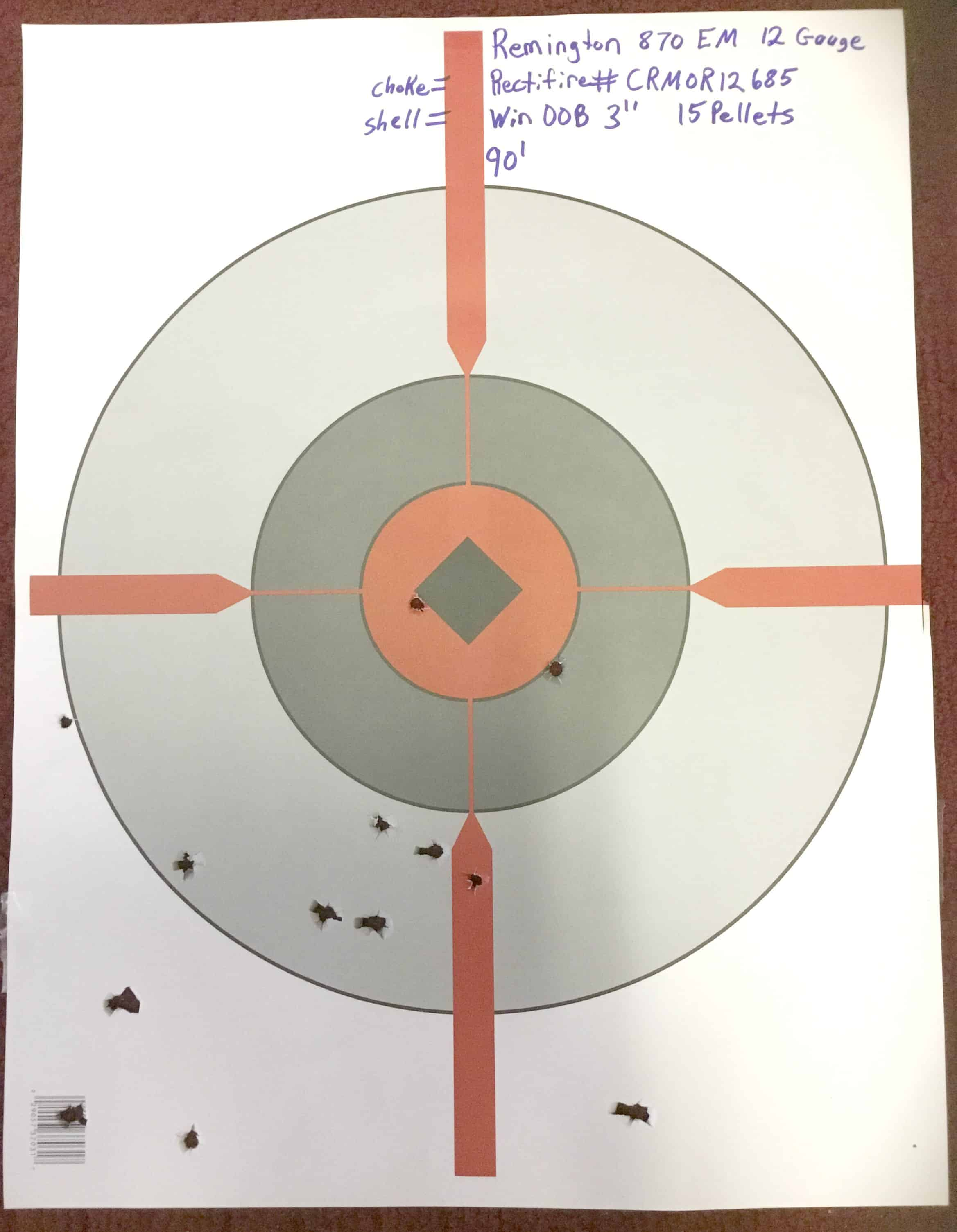 "Remington 870 EM 12 Gauge (Rectifire # CRMOR12685) Win. 00BK 3"" (15 pellets) @ 30 yds."
